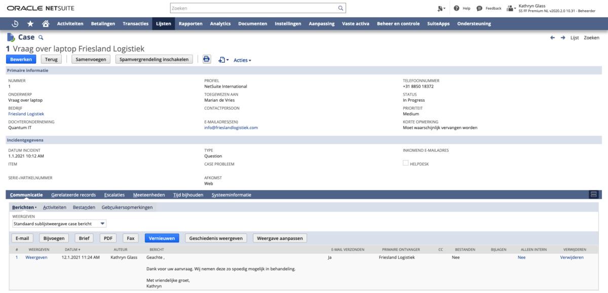 NetSuite aftersales case management